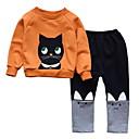 ieftine Seturi Îmbrăcăminte Fete-Copil Fete De Bază Mată Manșon Lung Poliester Set Îmbrăcăminte Portocaliu 100