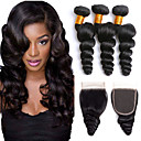 cheap Concealers & Contours-3 Bundles with Closure Indian Hair Loose Wave Human Hair Headpiece / Extension / Hair Accessory 8-24 inch Black Natural Color Human Hair Weaves Machine Made / 4x4 Closure Soft / Silky / Best Quality
