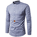 رخيصةأون صنادل نسائية-رجالي قطن قميص نحيل الأعمال التجارية / أساسي شيك, عمل / مرتفعة / كم طويل