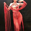povoljno Egzotična plesna odjeća-Egzotična plesna odjeća Kombinezoni za izlaske / Klubska nošnja Žene Seksi blagdanski kostimi Spandex Nabori / S resicama Dugih rukava Hula-hopke / Onesie