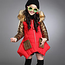 cheap Girls' Jackets & Coats-Kids Girls' Active / Street chic Going out Patchwork Patchwork Long Sleeve Long PU Down & Cotton Padded