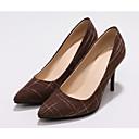 baratos Sapatos de Salto-Mulheres Sapatos Lona / Microfibra Verão Plataforma Básica Saltos Salto Agulha Preto / Azul / Castanho Escuro
