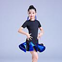 baratos Roupas de Dança Latina-Dança Latina Vestidos Para Meninas Espetáculo Elastano Franzido / Combinação / Faixa Manga Curta Alto Vestido