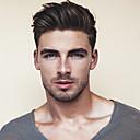 abordables Perruques Synthétiques Sans Bonnet-Homme Cheveux humains Postiches Droit Mono filament / 100 % Tissée Main Doux