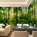 cheap Wall Murals-Wallpaper / Mural Canvas Wall Covering - Adhesive required Botanical / Art Deco / 3D