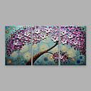 זול ציורי פרחים/צמחייה-ציור שמן צבוע-Hang מצויר ביד - פרחוני / בוטני מודרני כלול מסגרת פנימית / שלושה פנלים / בד מתוח