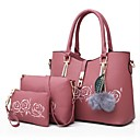 cheap Totes-Women's Bags PU(Polyurethane) Bag Set 3 Pcs Purse Set Zipper Red / Pink / Light Grey