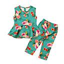 ieftine Seturi Îmbrăcăminte Fete-Copii Fete Vintage / De Bază Concediu / Ieșire Floral Bufantă / Imprimeu Fără manșon Lung Bumbac / Acrilic Set Îmbrăcăminte Trifoi