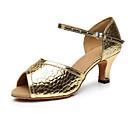 cheap Latin Shoes-Women's Latin Shoes PU(Polyurethane) Heel Thick Heel Dance Shoes Gold / Black