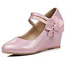 זול נעליים מודרניות-בגדי ריקוד נשים נעלי נוחות PU קיץ עקבים עקב טריז לבן / כחול / ורוד / יומי