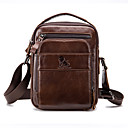 cheap Wall Stickers-Men's Bags Cowhide Shoulder Bag Zipper Geometric Dark Brown