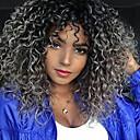 Χαμηλού Κόστους Συνθετικές περούκες χωρίς σκουφί-Συνθετικές Περούκες Σγουρά Στυλ Μέσο μέρος Χωρίς κάλυμμα Περούκα Γκρι Μαύρο / Γκρι Συνθετικά μαλλιά 18 inch Γυναικεία Μαλλιά με ανταύγειες / Στη μέση / Για μαύρες γυναίκες Γκρι Περούκα Μεσαίου Μήκους