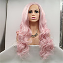 cheap Synthetic Lace Wigs-Synthetic Lace Front Wig Wavy Pink Layered Haircut 130% Density Synthetic Hair 26 inch Women / Youth Pink Wig Women's Mid Length Lace Front Pink+Red / Yes