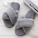 cheap Slippers-Women's Slippers House Slippers Ordinary Rabbit Fur solid color Shoes