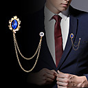 cheap Pins and Brooches-Men's Cubic Zirconia Stylish / Link / Chain Brooches - Creative Statement, Fashion, British Brooch Black / Royal Blue For Party / Daily