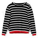 preiswerte Pullover & Strickjacken für Mädchen-Kinder Mädchen Grundlegend Gestreift Langarm Standard Polyester Pullover & Cardigan Schwarz