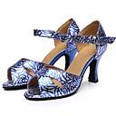 baratos Sapatos de Dança Latina-Mulheres Sapatos de Dança Latina Couro Ecológico Salto Salto Alto Magro Sapatos de Dança Azul / Espetáculo / Ensaio / Prática
