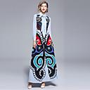 baratos Conjuntos de Roupa para a Família-Mulheres Para Noite balanço Vestido - Estampado, Abstrato Colarinho de Camisa Longo