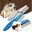 cheap Dog Grooming Supplies-Pet Hair Grooming Comb Flea Shedding Brush Puppy Dog Stainless Pin Blue/White