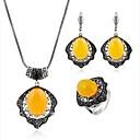 זול סטים של תכשיטים-בגדי ריקוד נשים טופז קלאסי מסוגנן סט תכשיטים - מצופה כסף יצירתי מסוגנן, קלסי, וינטאג' לִכלוֹל טבעות חישוקים שרשרת טבעת צהוב עבור חתונה יומי