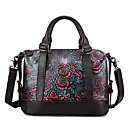 cheap Totes-Women's Bags Cowhide Tote Embossed Floral Print Dark Green / Brown / Silver