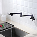 billige Tilbehør til badeværelset-Kjøkken Kran - To Håndtak et hull Malte Finishes Køkkenkran Vægmonteret Moderne Kitchen Taps / Messing