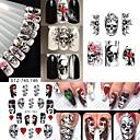 cheap Christmas Nail Art-4 pcs Water Transfer Sticker Skull / Flower Shape nail art Manicure Pedicure New Design / Best Quality Guro Lolita / Cosplay Lolita Halloween / Party / Evening / Masquerade