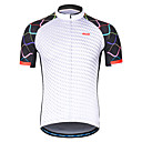 cheap Cycling Jerseys-Arsuxeo Men's Short Sleeve Cycling Jersey - White Solid Color Bike Jersey, Reflective Strips Sweat-wicking 100% Polyester