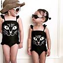 cheap Girls' Clothing Sets-Kids Girls' Basic Beach Print Print Sleeveless Polyester Swimwear Black