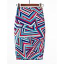 povoljno Modne naušnice-Žene Bodycon Osnovni Suknje - Geometrijski oblici / Color block Visoki struk purpurna boja L XL XXL