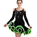 preiswerte Tanzkleidung für Balltänze-Latein-Tanz Kleider Damen Leistung Elasthan / Organza Horizontal gerüscht / Kristalle / Strass Langarm Normal Kleid