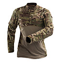 cheap Softshell, Fleece & Hiking Jackets-Men's Camo Hiking Tee shirt Outdoor Anatomic Design Breathability Wearable Wear Resistance Tee / T-shirt Spandex Hunting Military Hunting and Fishing Grey / Camouflage / Khaki / Micro-elastic