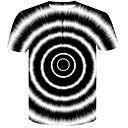 billige Motearmbånd-Rund hals T-skjorte Herre - Fargeblokk / 3D, Trykt mønster Grunnleggende / Gatemote Klubb Svart og hvit / Kortermet