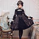 cheap Lolita Dresses-Gothic Lolita Dress Classical Elegant Female Dress Cosplay Black / Brown Flare Sleeve 3/4 Length Sleeve Knee Length Midi Costumes