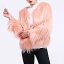 cheap Wedding Wraps-Women's Daily / Going out Street chic / Sophisticated Winter Plus Size Short Fur Coat, Solid Colored Round Neck Long Sleeve Faux Fur Pleated / Patchwork Purple / Wine / Khaki XL / XXL / XXXL