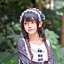 halpa Videopeli-peruukit-Naisten Vintage Tyylikäs Lolita Accessories Musta / valkoinen Painettu Rusetti Pitsi Headwear Lolita Tarvikkeet