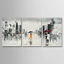 billige Moderne veggklokker-Hang malte oljemaleri Håndmalte - Abstrakt / Mennesker Moderne Lerret / Tre Paneler