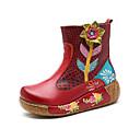 tanie Dywaniki-Damskie Komfortowe buty Skóra bydlęca Wiosna i jesień Vintage Botki Creepersy Kozaki Koraliki Fioletowy / Czerwony