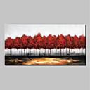 זול ציורי פרחים/צמחייה-ציור שמן צבוע-Hang מצויר ביד - מופשט / L ו-scape מודרני בַּד