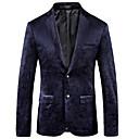 cheap Smartwatches-Men's Party / Work Basic Regular Blazer, Solid Colored / Floral Notch Lapel Long Sleeve Polyester Navy Blue XXXL / 4XL / XXXXXL / Business Casual