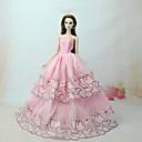 baratos Acessórios de Boneca-Vestidos Vestir Para Boneca Barbie Rosa claro Tule / Renda / Mistura de Seda / Algodão Vestido Para Menina de Boneca de Brinquedo