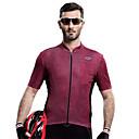 hesapli Bisiklet Formaları-SANTIC Erkek Kısa Kollu Bisiklet Forması Kırmızı Şarap Tek Renk Bisiklet Tişört Forma Üstler Nefes Alabilir Hızlı Kuruma Ultravioleye Karşı Dayanıklı Spor Dalları Polyester Dağ Bisikletçiliği Yol