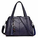 cheap Totes-Women's Bags Cowhide Tote Tassel Dark Blue / Purple / Wine