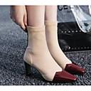baratos Oxfords Femininos-Mulheres Fashion Boots Pele Napa Inverno Botas Salto Robusto Dedo Fechado Botas Curtas / Ankle Preto / Vinho / Khaki