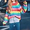 billige Hættetrøjer og sweatshirts til damer-Dame Daglig Stribet Langærmet Tynd Normal Pullover, Rullekrave Efterår / Vinter Rød En Størrelse