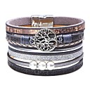 cheap Chandeliers-Women's Classic Stylish Leather Bracelet Wide Bangle Leather Creative Tree of Life life Tree Ladies Simple Trendy Fashion Bracelet Jewelry Gray / Brown / Blue For Carnival Birthday