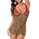 povoljno Ogrtači i odjeća za spavanje-Žene Čipka / Mrežica Babydoll / slip haljina / Odijelo Noćno rublje Leopard Deva One-Size / Na vezanje oko vrata