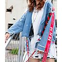 abordables Kit DVR-Mujer Diario Básico Otoño invierno Regular Chaquetas Vaqueras, Un Color Cuello Vuelto Manga Larga Poliéster Azul Piscina M / L / XL