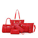 cheap Bag Sets-Women's Bags PU(Polyurethane) Bag Set 6 Pieces Purse Set Zipper Red / Beige / Purple