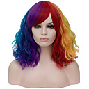 cheap Synthetic Capless Wigs-Wig Accessories Curly Middle Part Synthetic Hair 16 inch Case / Fashionable Design Red / Blue Wig Women's Short Capless Rainbow